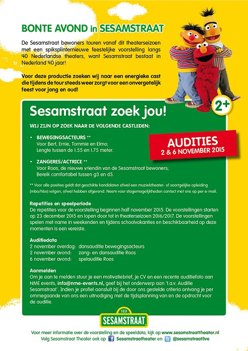 Audities Bonte Avond in Sesamstraat